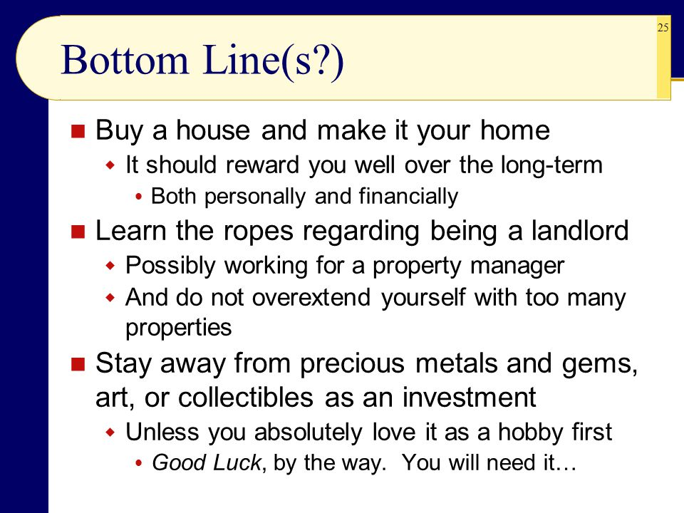1 Real Estate and Other Investment Alternatives L ECTURE If