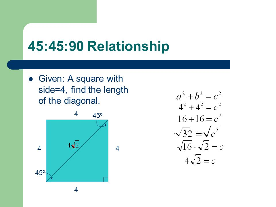 Special Right Triangles 454590 Right Triangles Ppt Download