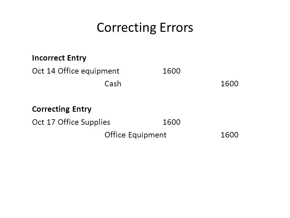 Correcting Errors Incorrect Entry Oct 14 Office equipment1600 Cash1600 Correcting Entry Oct 17 Office Supplies1600 Office Equipment1600