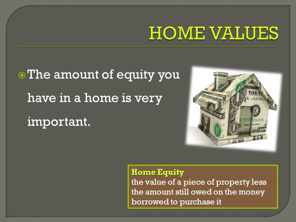  The amount of equity you have in a home is very important.
