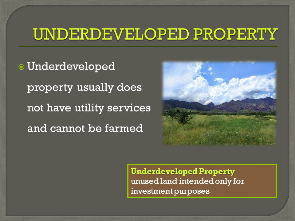  Underdeveloped property usually does not have utility services and cannot be farmed Underdeveloped Property unused land intended only for investment purposes