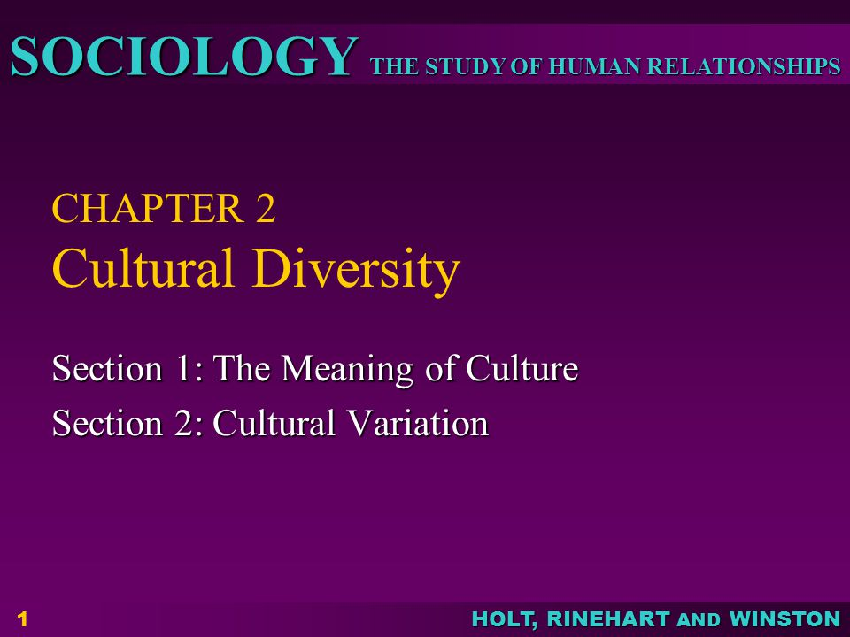 THE STUDY OF HUMAN RELATIONSHIPS SOCIOLOGY HOLT, RINEHART AND WINSTON 1 CHAPTER 2 Cultural Diversity Section 1: The Meaning of Culture Section 2: Cultural Variation