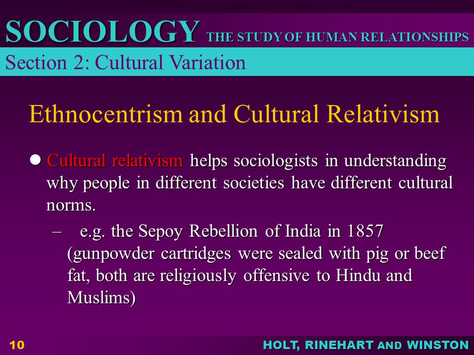 THE STUDY OF HUMAN RELATIONSHIPS SOCIOLOGY HOLT, RINEHART AND WINSTON 10 Ethnocentrism and Cultural Relativism Cultural relativism helps sociologists in understanding why people in different societies have different cultural norms.