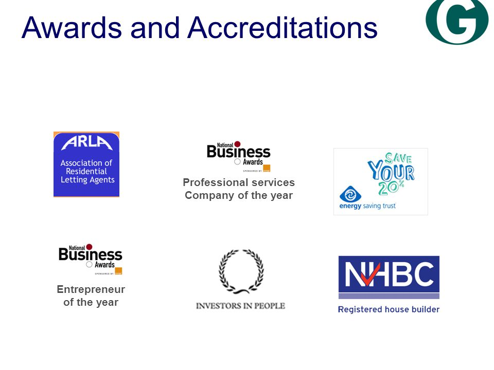 Entrepreneur of the year Awards and Accreditations Professional services Company of the year