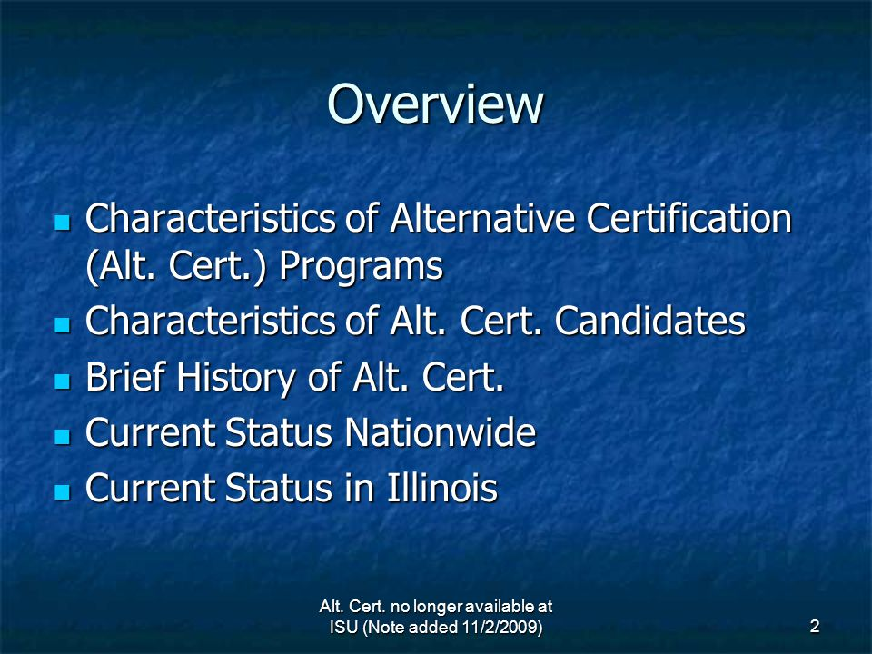 1 Alternative Certification No Longer Available At Isu Michael A