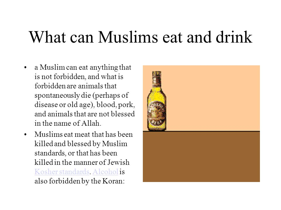 What can Muslims eat and drink a Muslim can eat anything that is not forbidden, and what is forbidden are animals that spontaneously die (perhaps of disease or old age), blood, pork, and animals that are not blessed in the name of Allah.