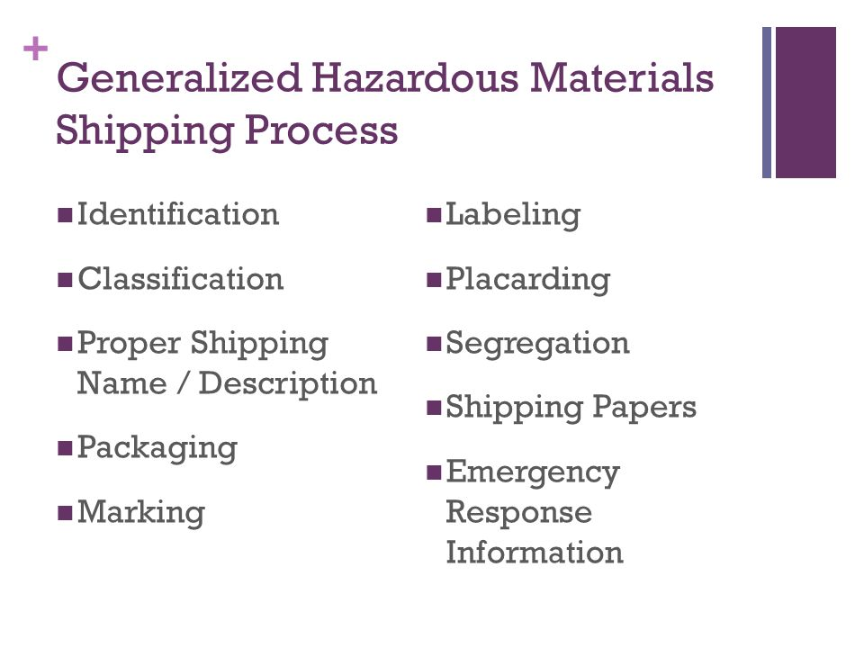 + Generalized Hazardous Materials Shipping Process Identification Classification Proper Shipping Name / Description Packaging Marking Labeling Placarding Segregation Shipping Papers Emergency Response Information