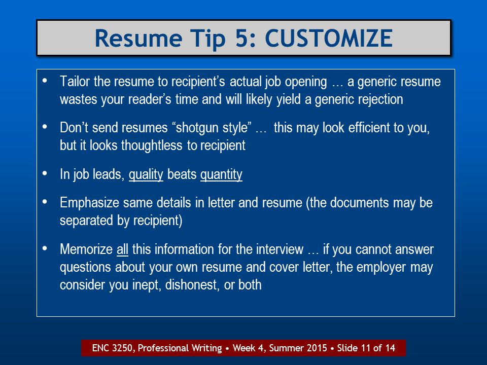 ENC 3250, Professional Writing: Assignment 3 Cover Letter & Resume ...