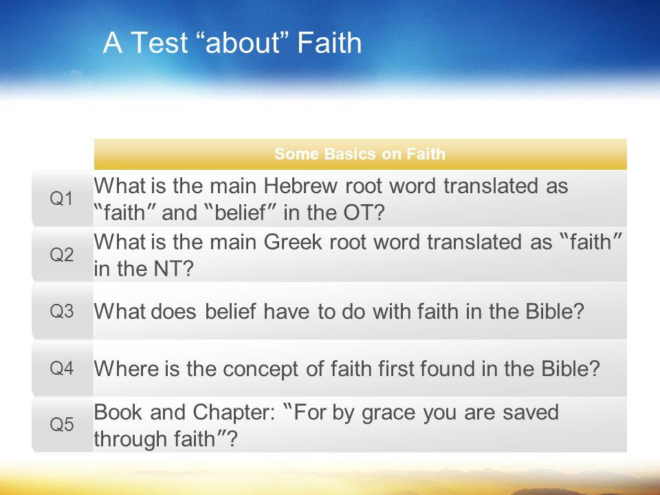 A Test about Faith What is the main Hebrew root word translated as faith and belief in the OT.