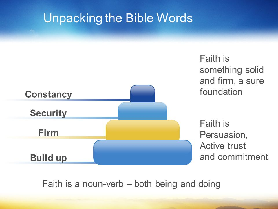 Constancy Security Firm Build up Unpacking the Bible Words Faith is something solid and firm, a sure foundation Faith is Persuasion, Active trust and commitment Faith is a noun-verb – both being and doing