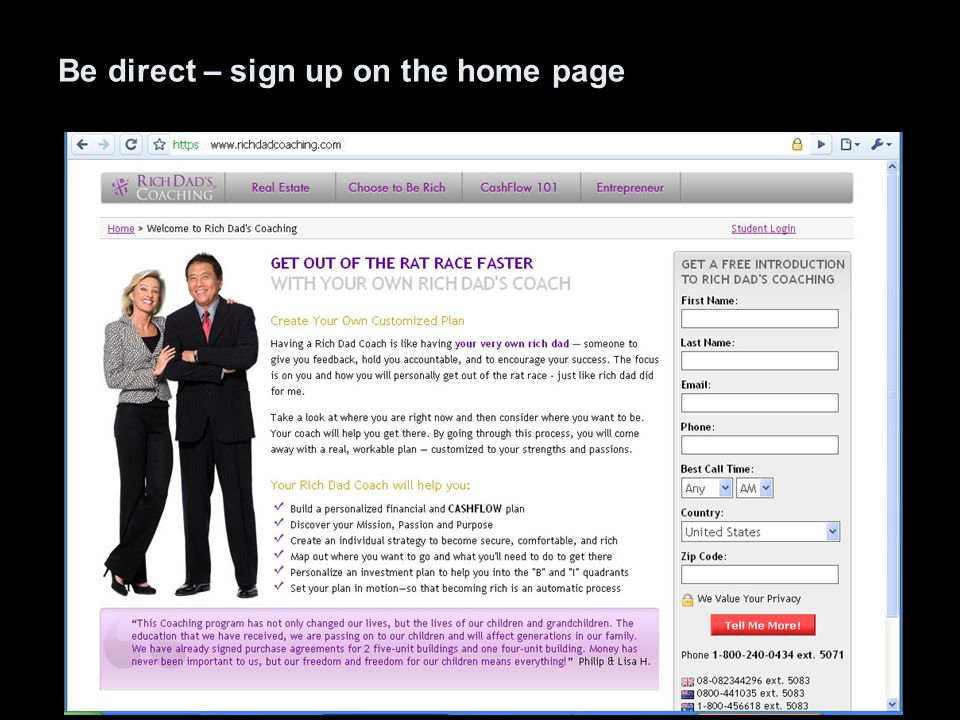 Be direct – sign up on the home page