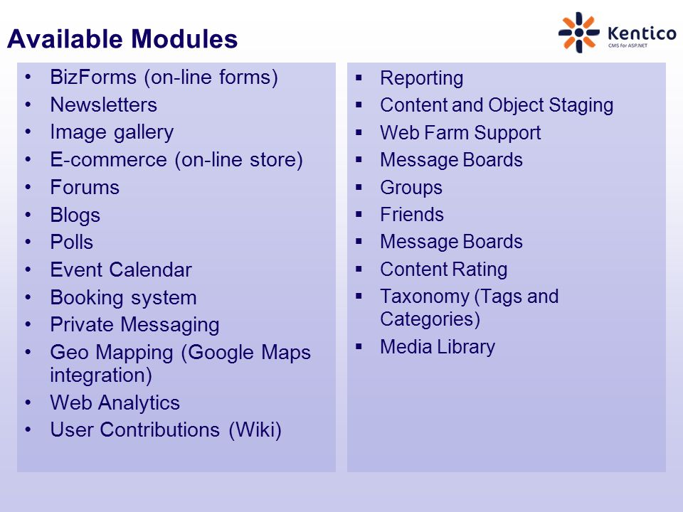 Available Modules BizForms (on-line forms) Newsletters Image gallery E-commerce (on-line store) Forums Blogs Polls Event Calendar Booking system Private Messaging Geo Mapping (Google Maps integration) Web Analytics User Contributions (Wiki)  Reporting  Content and Object Staging  Web Farm Support  Message Boards  Groups  Friends  Message Boards  Content Rating  Taxonomy (Tags and Categories)  Media Library