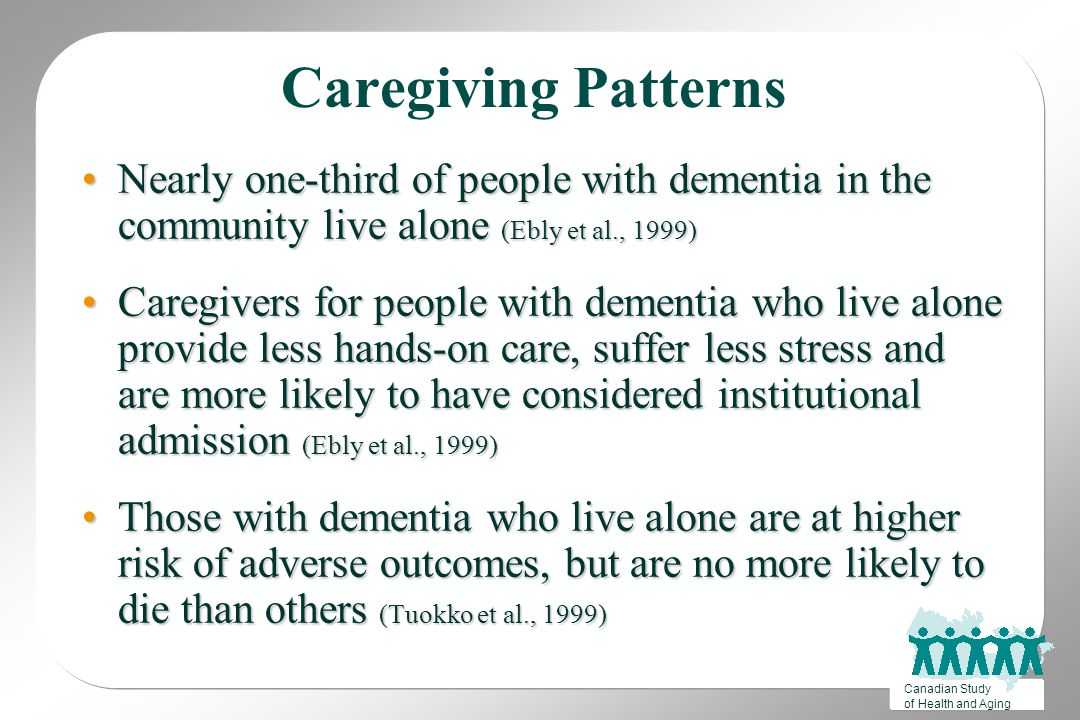 Canadian Study of Health and Aging Caregiving Patterns Nearly one-third of people with dementia in the community live alone (Ebly et al., 1999)Nearly one-third of people with dementia in the community live alone (Ebly et al., 1999) Caregivers for people with dementia who live alone provide less hands-on care, suffer less stress and are more likely to have considered institutional admission (Ebly et al., 1999)Caregivers for people with dementia who live alone provide less hands-on care, suffer less stress and are more likely to have considered institutional admission (Ebly et al., 1999) Those with dementia who live alone are at higher risk of adverse outcomes, but are no more likely to die than others (Tuokko et al., 1999)Those with dementia who live alone are at higher risk of adverse outcomes, but are no more likely to die than others (Tuokko et al., 1999)