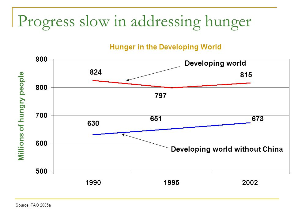 Progress slow in addressing hunger Developing world Developing world without China Hunger in the Developing World Millions of hungry people Source: FAO 2005a