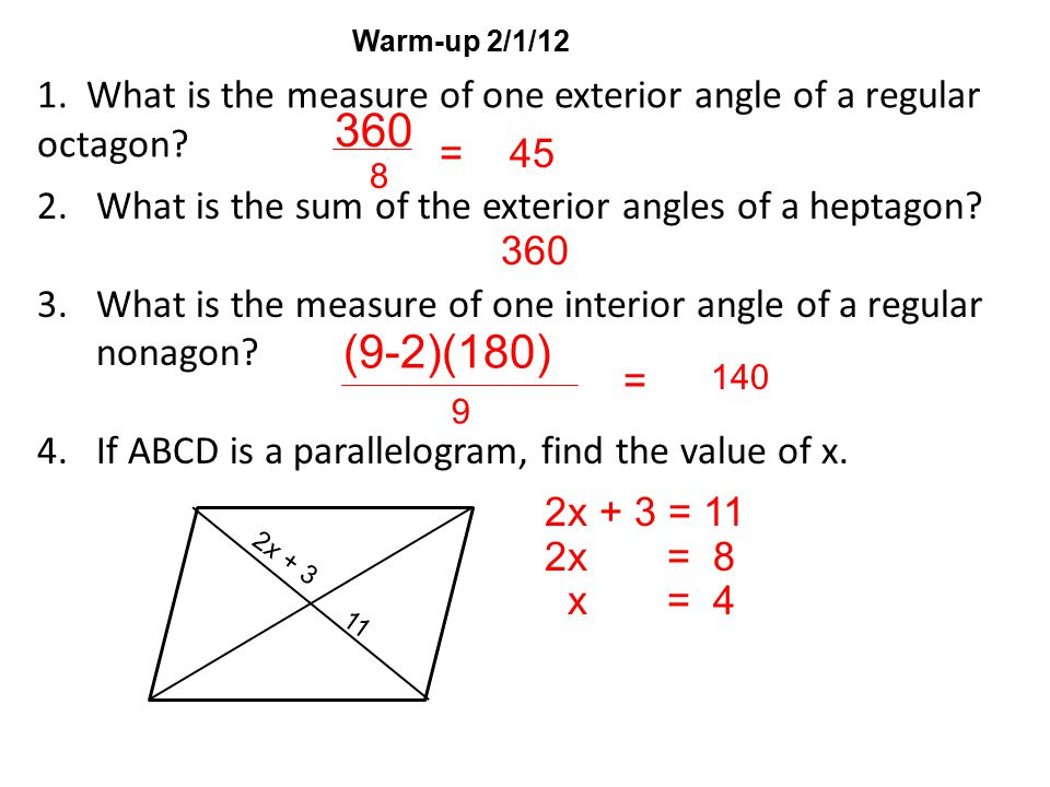 1 What Is The Measure Of One Exterior Angle Of A Regular