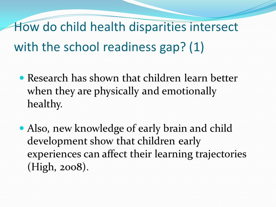 How do child health disparities intersect with the school readiness gap.