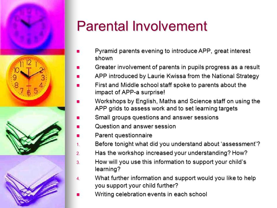 Parental Involvement Pyramid parents evening to introduce APP, great interest shown Pyramid parents evening to introduce APP, great interest shown Greater involvement of parents in pupils progress as a result Greater involvement of parents in pupils progress as a result APP introduced by Laurie Kwissa from the National Strategy APP introduced by Laurie Kwissa from the National Strategy First and Middle school staff spoke to parents about the impact of APP-a surprise.