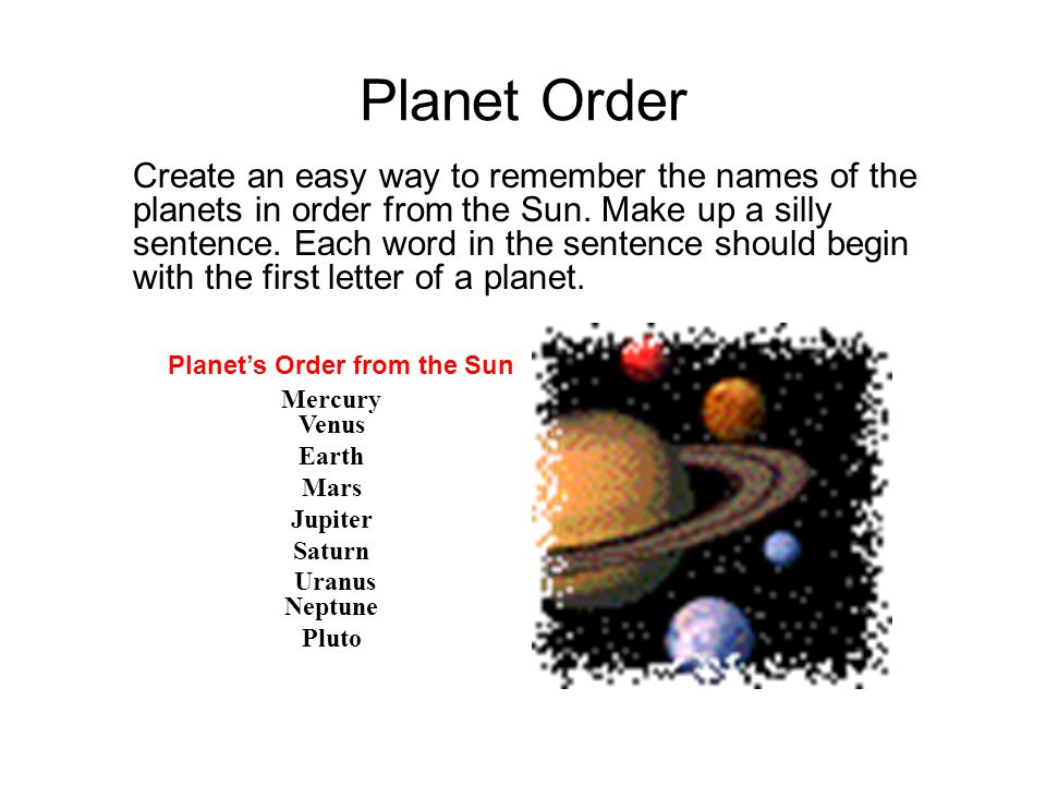 Planet Order Create an easy way to remember the names of the planets in order from the Sun.
