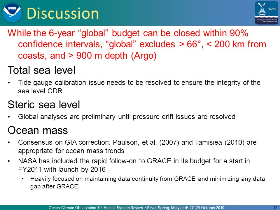 17 Discussion While the 6-year global budget can be closed within 90% confidence intervals, global excludes > 66°, 900 m depth (Argo) Total sea level Tide gauge calibration issue needs to be resolved to ensure the integrity of the sea level CDR Steric sea level Global analyses are preliminary until pressure drift issues are resolved Ocean mass Consensus on GIA correction: Paulson, et al.