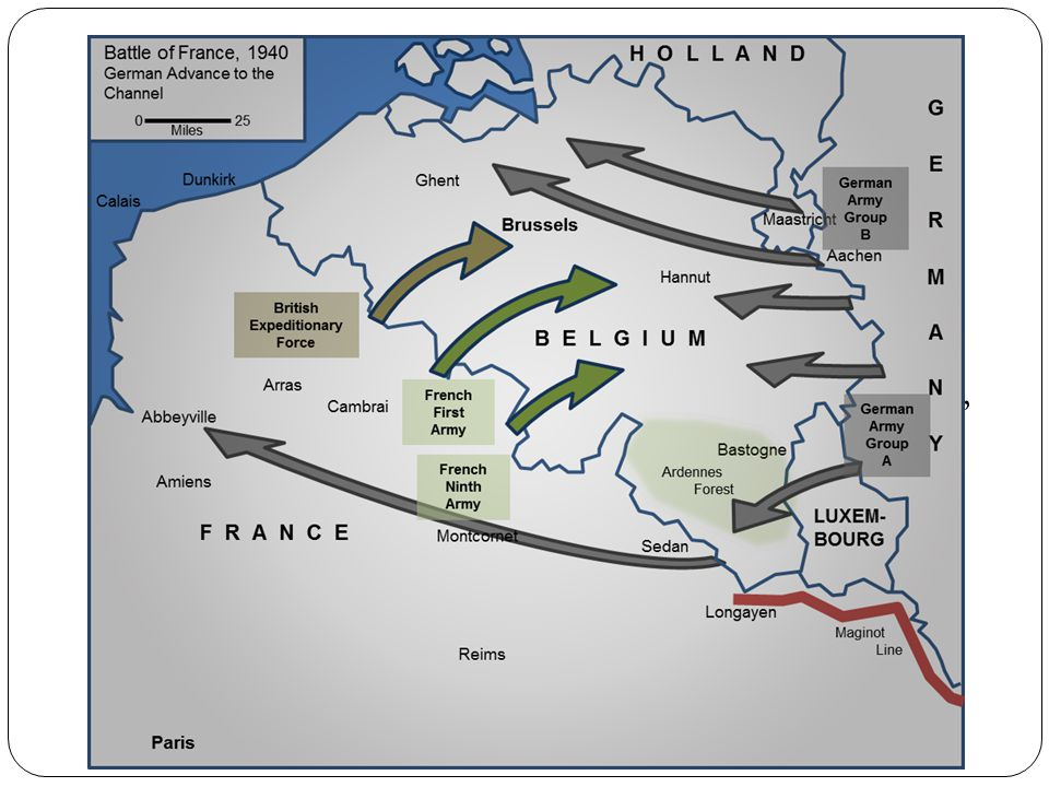 The Fall of France May 1940 Hitler began attacking through Netherlands, Belgium, and Luxembourg in order to reach France He sent tanks and troops through the Ardennes, a wooded area in Northern France, Lux and Belgium German troops were able to squeeze between Maginot Line, move across France