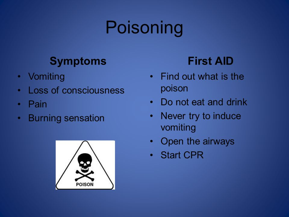 Poisoning Symptoms Vomiting Loss of consciousness Pain Burning sensation First AID Find out what is the poison Do not eat and drink Never try to induce vomiting Open the airways Start CPR