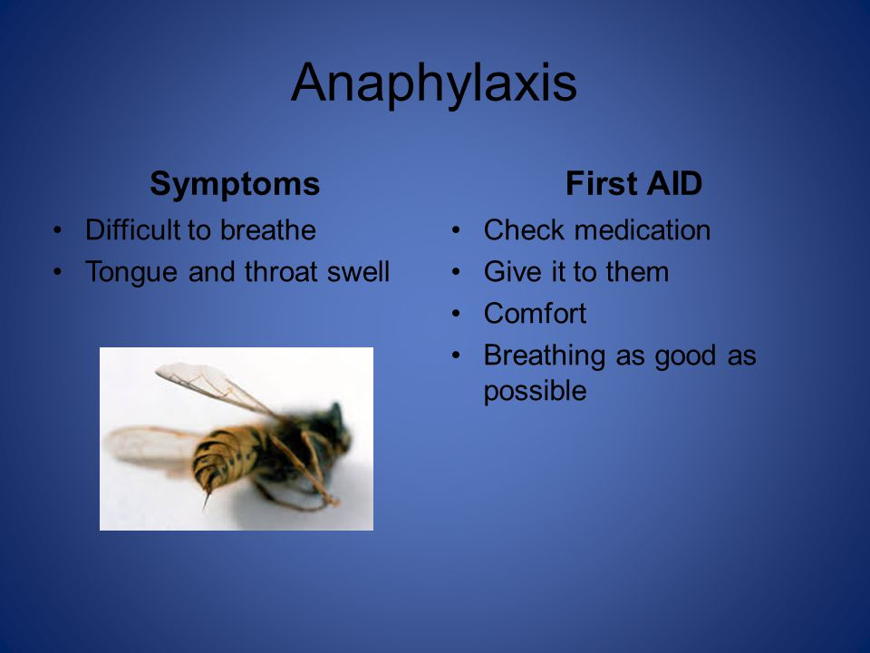Anaphylaxis Symptoms Difficult to breathe Tongue and throat swell First AID Check medication Give it to them Comfort Breathing as good as possible