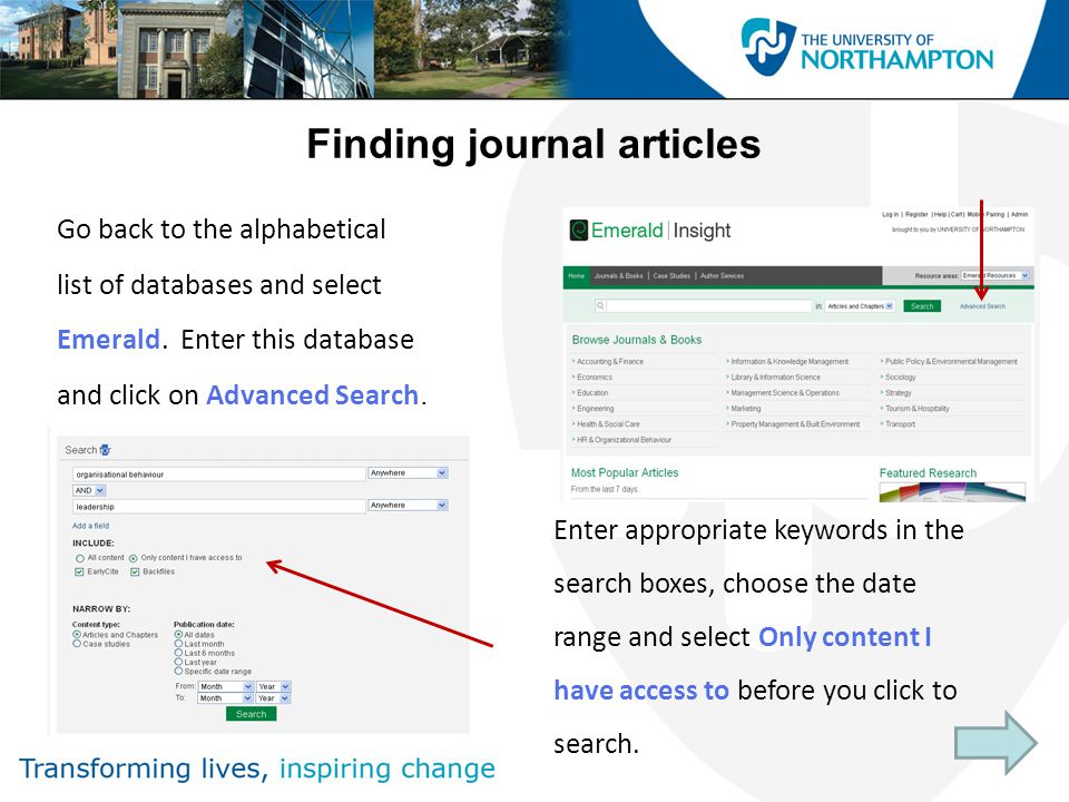 Finding journal articles Go back to the alphabetical list of databases and select Emerald.