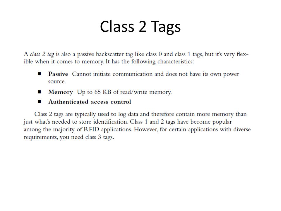 Class 2 Tags