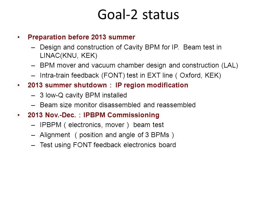 Goal-2 status Preparation before 2013 summer –Design and construction of Cavity BPM for IP.