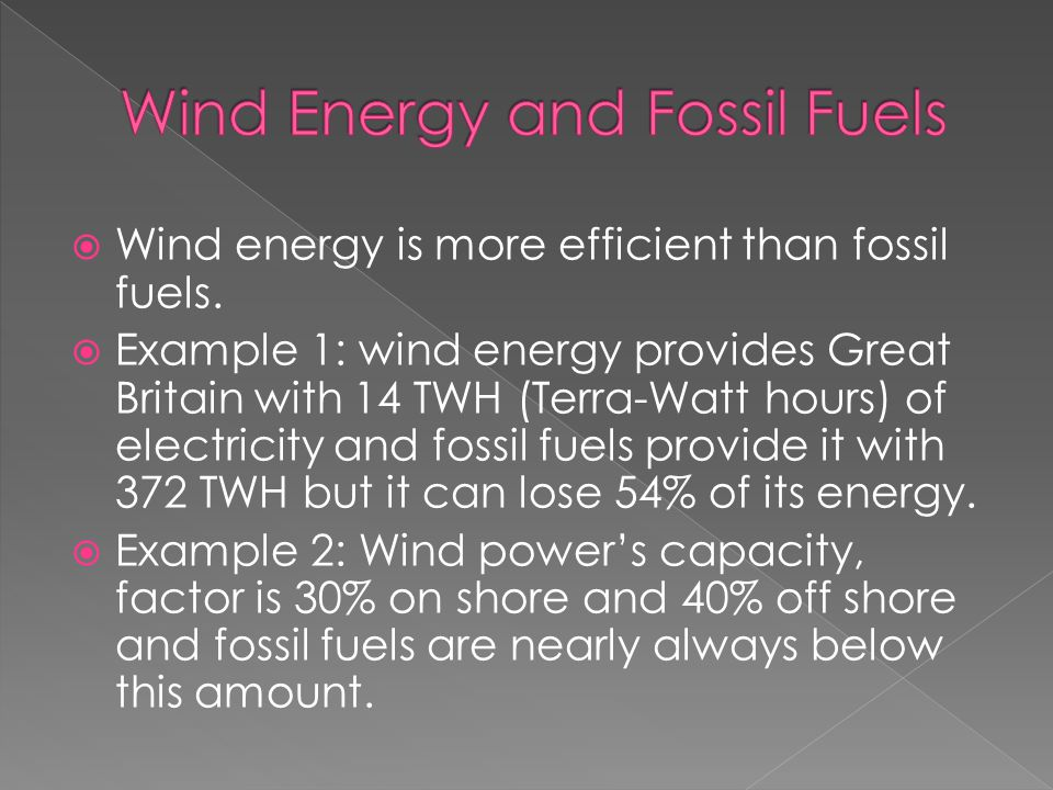  Wind energy is more efficient than fossil fuels.