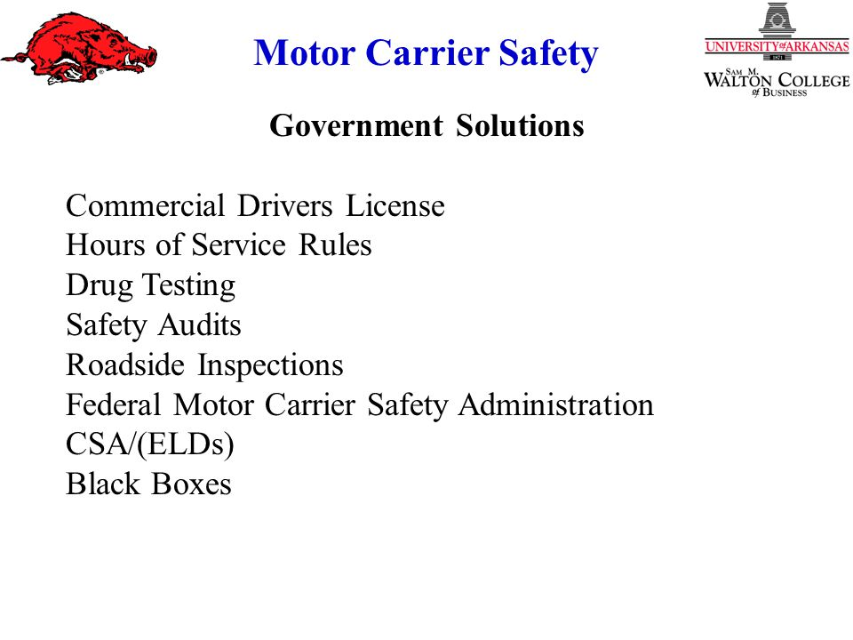 Government Solutions Commercial Drivers License Hours of Service Rules Drug Testing Safety Audits Roadside Inspections Federal Motor Carrier Safety Administration CSA/(ELDs) Black Boxes