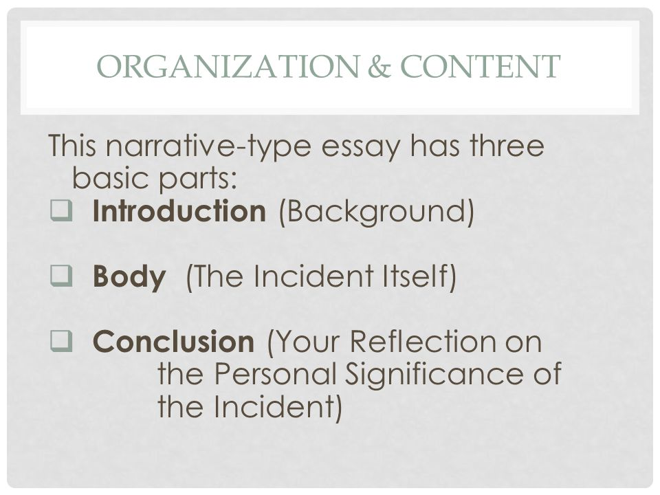 Autobiographical Incident Writing About Your Favorite Person  You   Organization  Content This Narrativetype Essay Has Three Basic Parts   Introduction Background  Body The Incident Itself  Conclusion Your   Good Essay Topics For High School also Custom Book Review  How To Use A Thesis Statement In An Essay