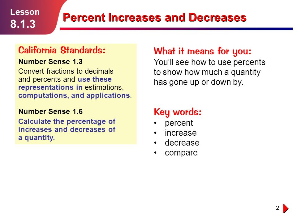 Lesson Percent Increases and Decreases Percent Increases and