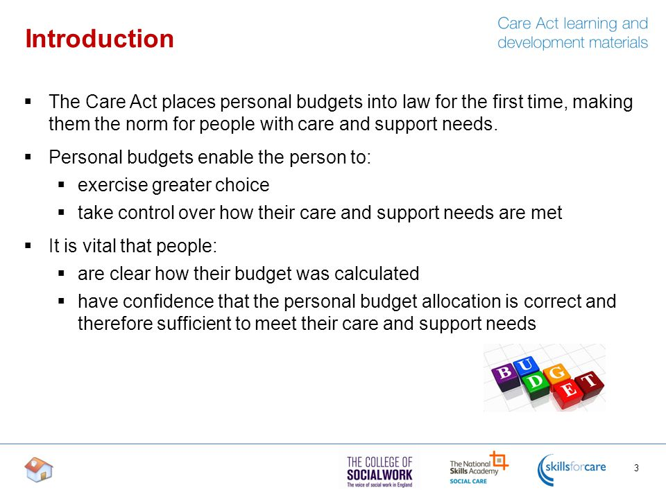 personal budgets care act outline of content introduction