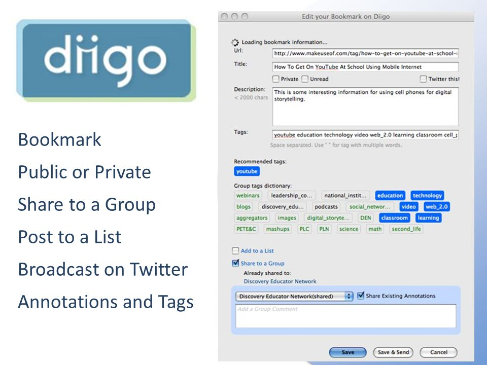 Bookmark Public or Private Share to a Group Post to a List Broadcast on Twitter Annotations and Tags