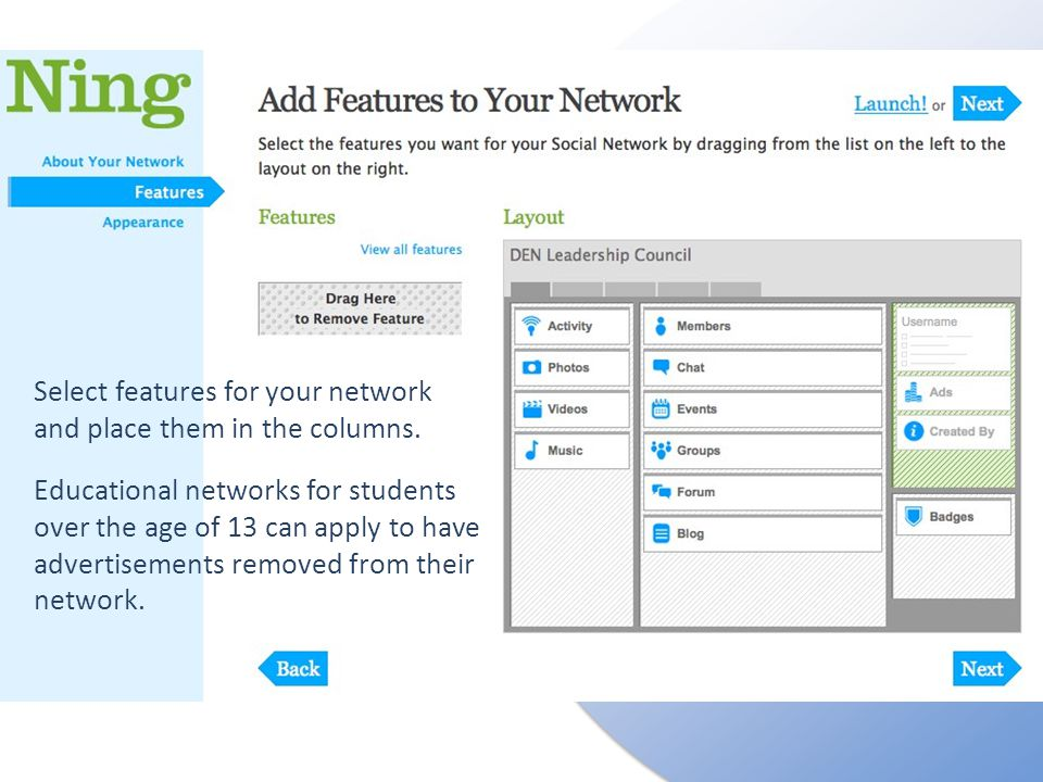 Select features for your network and place them in the columns.