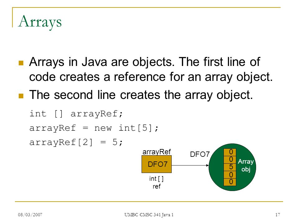 08/03/2007 UMBC CMSC 341 Java 1 17 Arrays Arrays in Java are objects.