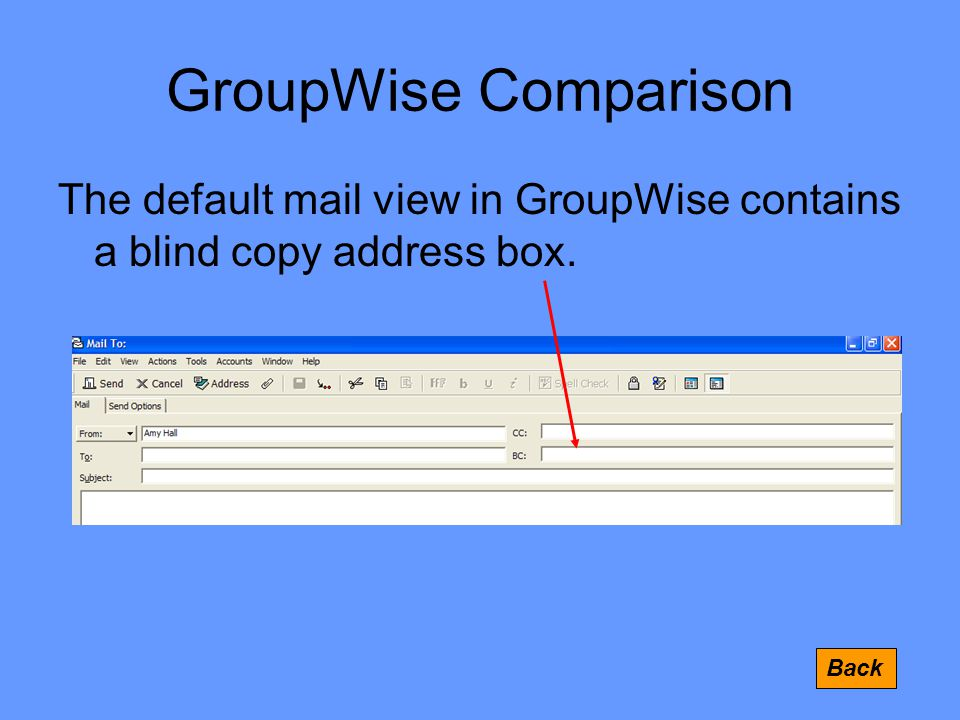 GroupWise Comparison The default mail view in GroupWise contains a blind copy address box. Back