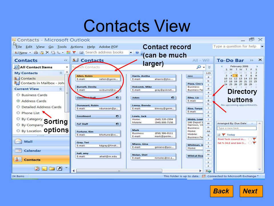 Contacts View Contact record (can be much larger) Sorting options Directory buttons BackNext