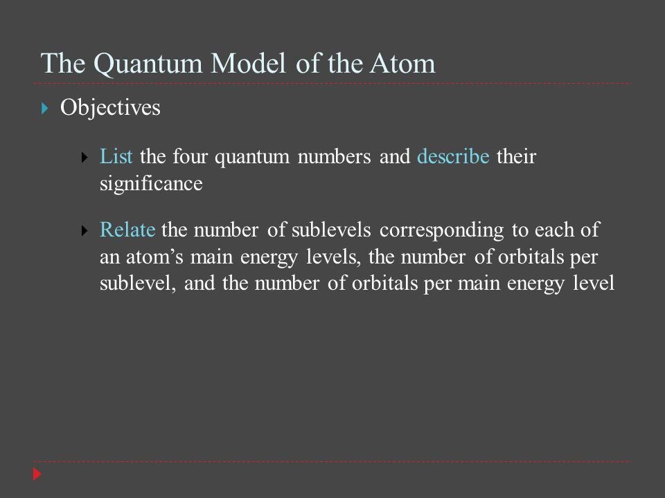The Quantum Model of the Atom  Objectives  List the four quantum numbers and describe their significance  Relate the number of sublevels corresponding to each of an atom's main energy levels, the number of orbitals per sublevel, and the number of orbitals per main energy level