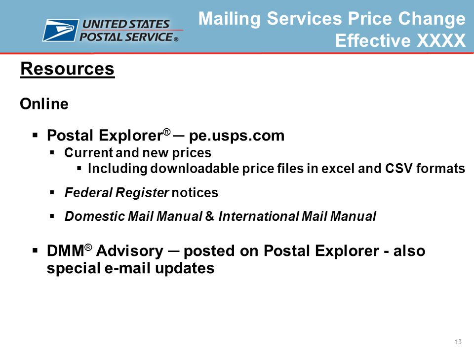 Mailing Services Price Change Effective XXXX USPS Approved