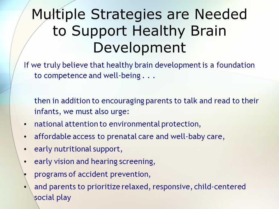 Multiple Strategies are Needed to Support Healthy Brain Development If we truly believe that healthy brain development is a foundation to competence and well-being...