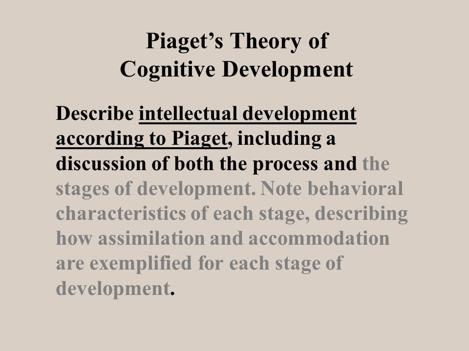 Describe intellectual development according to Piaget, including a discussion of both the process and the stages of development.