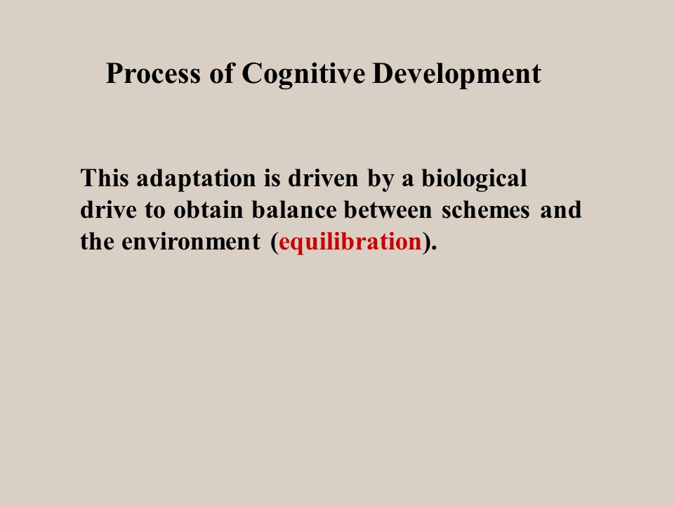 Process of Cognitive Development This adaptation is driven by a biological drive to obtain balance between schemes and the environment (equilibration).