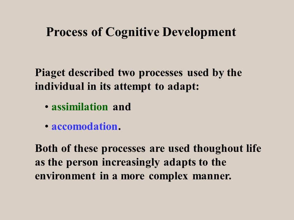 Process of Cognitive Development Piaget described two processes used by the individual in its attempt to adapt: assimilation and accomodation.