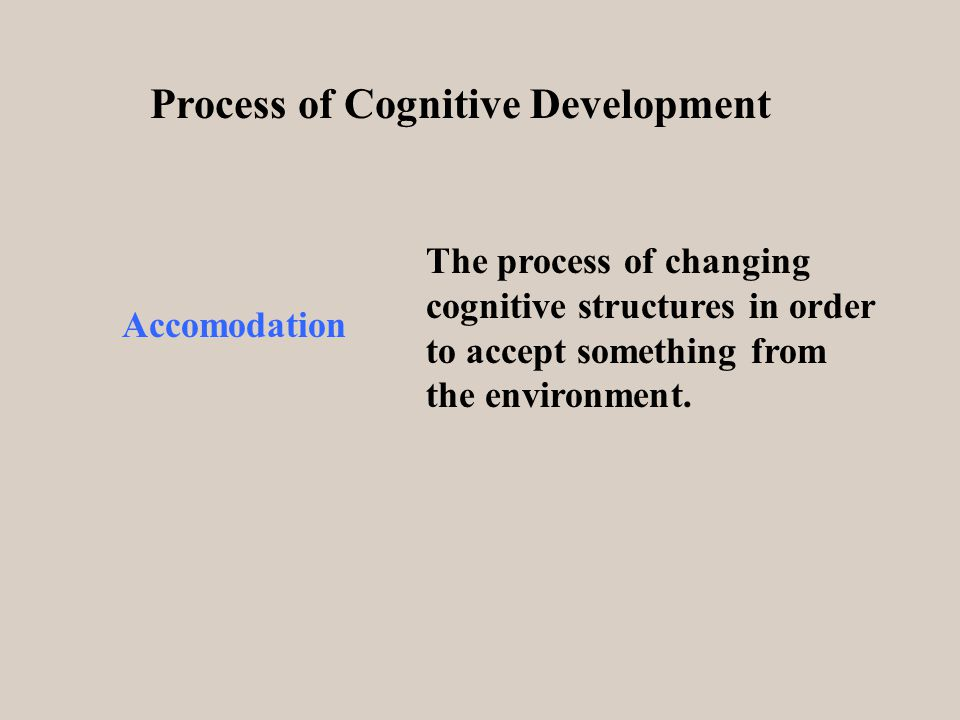 Process of Cognitive Development Accomodation The process of changing cognitive structures in order to accept something from the environment.