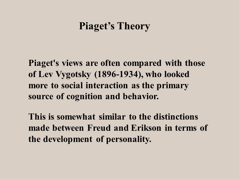 Piaget's Theory Piaget s views are often compared with those of Lev Vygotsky ( ), who looked more to social interaction as the primary source of cognition and behavior.