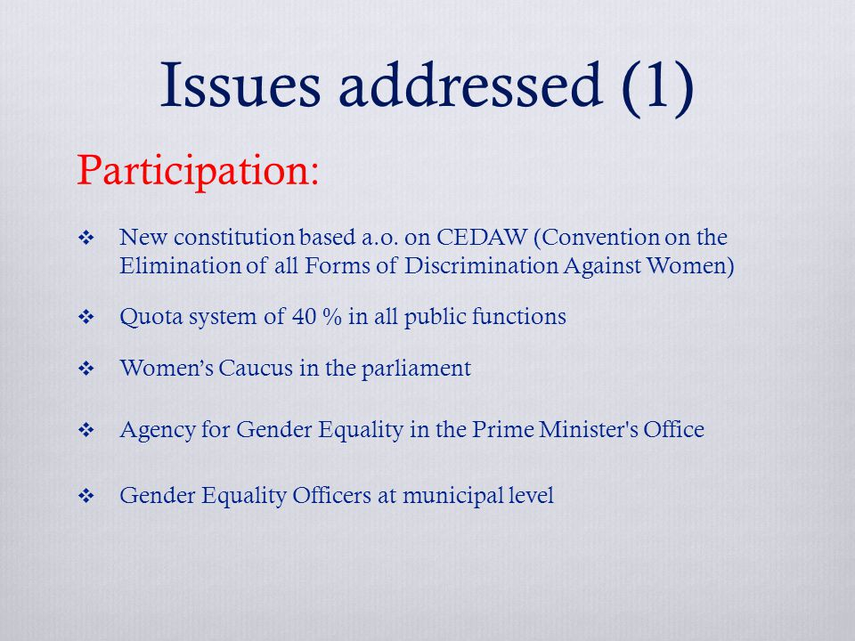 Issues addressed (1) Participation:  New constitution based a.o.