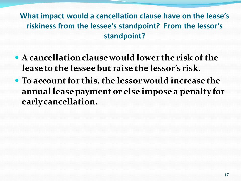 What impact would a cancellation clause have on the lease's riskiness from the lessee's standpoint.