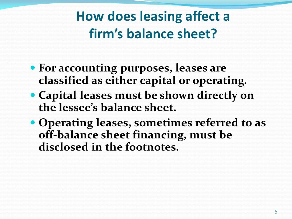 How does leasing affect a firm's balance sheet.